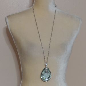 New Long Blue Crystal Flower Necklace